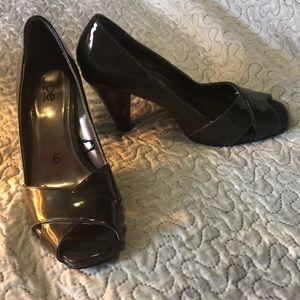 Green open toe heels